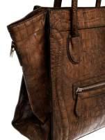 Brązowa trapezowa torba miejska z efektem skóry krokodyla                                  zdj.                                  6