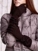 Brązowe długie rękawiczki z marszczonym ściągaczem