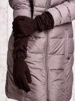 Brązowe długie rękawiczki z marszczonym ściągaczem                                                                           zdj.                                                                         3