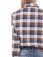 Brązowo-granatowa bawełniana dłuższa koszula w kratę                                  zdj.                                  6