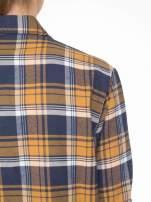 Brązowo-granatowa bawełniana dłuższa koszula w kratę                                  zdj.                                  9