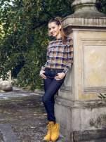 Brązowo-granatowa damska koszula w kratę z kieszonkami                                  zdj.                                  11