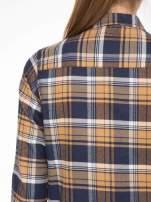 Brązowo-granatowa damska koszula w kratę z kieszonkami                                                                          zdj.                                                                         9