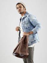 Brązowy materiałowy plecak worek męski                                  zdj.                                  6