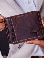 Brązowy portfel męski skórzany z pionowym tłoczeniem                                  zdj.                                  1