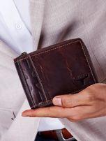 Brązowy portfel męski skórzany z pionowym tłoczeniem                                  zdj.                                  5