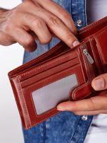 Brązowy portfel męski skórzany z przeszyciem                                  zdj.                                  2
