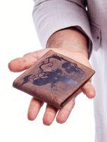 Brązowy portfel skórzany z motywem czaszki                                  zdj.                                  2
