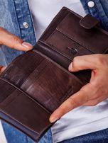 Brązowy rozkładany portfel ze skóry                                  zdj.                                  4