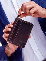 Brązowy skórzany portfel dla mężczyzny na suwak                                  zdj.                                  1