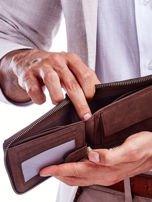 Brązowy skórzany portfel dla mężczyzny z zapięciem na suwak                                  zdj.                                  4