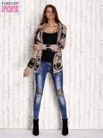 Brązowy sweter long hair z ornamentowym motywem                                  zdj.                                  2
