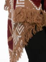 Brązowy sweter narzutka w azteckie wzory z frędzlami                                  zdj.                                  7
