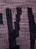 Brązowy sweter z nadrukiem i efektem destroyed                                   zdj.                                  5