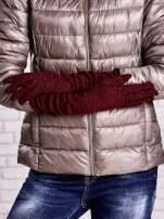 Burgundowe długie rękawiczki z metalizowaną nicią                                   zdj.                                  2