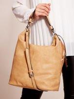 Camelowa torba z łączonych materiałów w stylu japońskim                                  zdj.                                  5