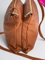 Camelowa torebka dwukomorowa z paskiem