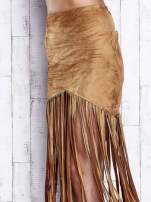 Camelowa zamszowa spódnica z frędzlami                                  zdj.                                  6