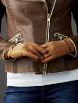 Camelowe rękawiczki damskie z ekologicznego zamszu                                  zdj.                                  2