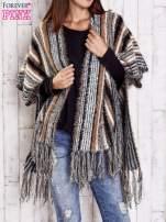 Camelowy sweter poncho z frędzlami                                   zdj.                                  3