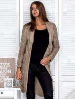 Ciemnobeżowy ażurowy długi sweter typu kardigan z paskiem                                  zdj.                                  6