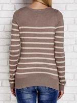 Ciemnobeżowy sweter w paski                                  zdj.                                  2