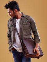 Ciemnobrązowa torba męska na ramię ze skóry naturalnej                                  zdj.                                  4