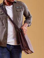 Ciemnobrązowa torba męska na ramię ze skóry naturalnej                                  zdj.                                  6