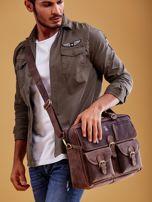 Ciemnobrązowa torba męska z odpinanym paskiem                                  zdj.                                  5