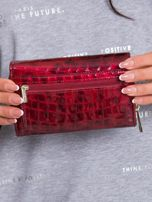Ciemnoczerwony podłużny portfel z motywem zwierzęcym                                  zdj.                                  2