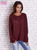Ciemnoczerwony sweter oversize z rozcięciami po bokach                                  zdj.                                  4