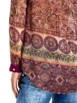 Ciemnofioletowa koszula w witrażowy wzór