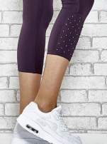 Turkusowe legginsy sportowe z dżetami na dole nogawki                                                                          zdj.                                                                         5