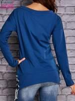 Ciemnoniebieska bluza z wiązaniami                                   zdj.                                  2