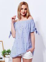 Ciemnoniebieska bluzka hiszpanka w paski z perełkami                                  zdj.                                  1