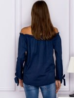 Ciemnoniebieska bluzka z wiązaniami na rękawach                                  zdj.                                  2