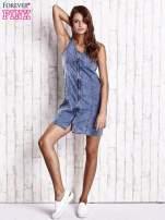 Ciemnoniebieska denimowa sukienka z suwakiem                                  zdj.                                  4