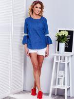 Ciemnoniebieska jeansowa bluzka z szerokimi rękawami                                  zdj.                                  9
