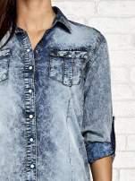 Ciemnoniebieska jeansowa koszula acid wash                                  zdj.                                  6