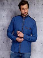 Ciemnoniebieska koszula męska w drobny wzór PLUS SIZE                                  zdj.                                  6