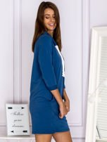 Ciemnoniebieska sukienka z troczkami                                  zdj.                                  3