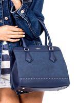 Ciemnoniebieska torba z ozdobnymi ćwiekami                                  zdj.                                  2