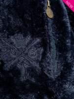 Ciemnoniebieska włochata bluza z kapturem i suwakami                                  zdj.                                  6
