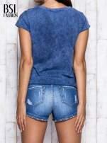 Ciemnoniebieski dekatyzowany t-shirt z napisem NEW YORK