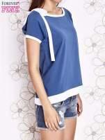 Ciemnoniebieski t-shirt z kokardą                                  zdj.                                  3