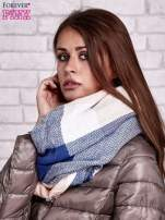 Ciemnoniebieski wełniany szalik w szeroką kratę                                  zdj.                                  2