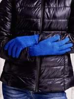 Ciemnoniebieskie długie rękawiczki z drapowanym rękawem                                  zdj.                                  2