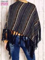 Ciemnoniebieskie poncho w etniczne wzory z frędzlami                                                                          zdj.                                                                         5