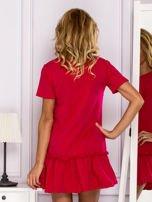 Ciemnoróżowa sukienka z falbaną                                  zdj.                                  2