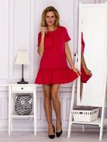 Ciemnoróżowa sukienka z falbaną                                  zdj.                                  4